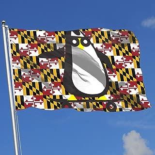JQDAPaflag Skateboard Clipart Penguin Breeze Flag 3 X 5-100% Polyester Single Layer Translucent Flags 90 X 150CM - Banner 3' X 5' Ft