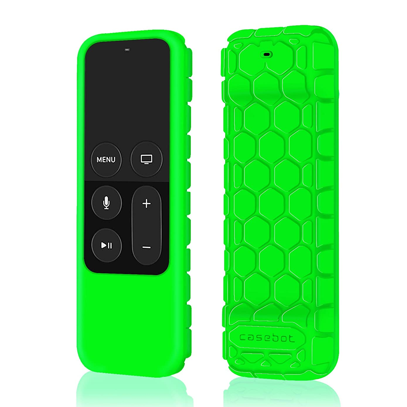 Fintie Protective Case for Apple TV 4K 5th / 4th Gen Remote - Casebot [Honey Comb Series] Lightweight [Anti Slip] Shock Proof Silicone Cover for Apple TV Siri Remote Controller, Green