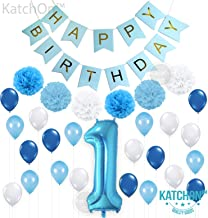 KatchOn 1ST Birthday Boy Decorations Blue – Large, Pack of 30 | Baby Boy First Birthday Decorations | Number 1 Blue Balloon, Pompoms and Latex Balloon Pack| Happy Birthday Banner Décor Supplies