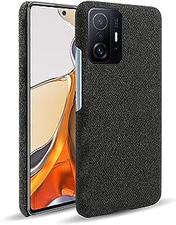 حافظة OIATROE لجهاز Xiaomi 11T Pro ، مصنوعة يدويًا من الجلد نمط القماش الصلب لجهاز Xiaomi 11T Pro - أسود