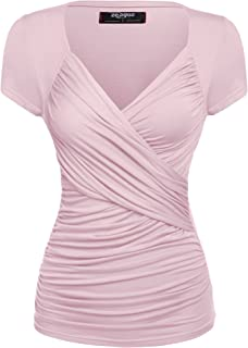 Women's Cross-Front V Neck Ruched Cap Sleeve Blouse