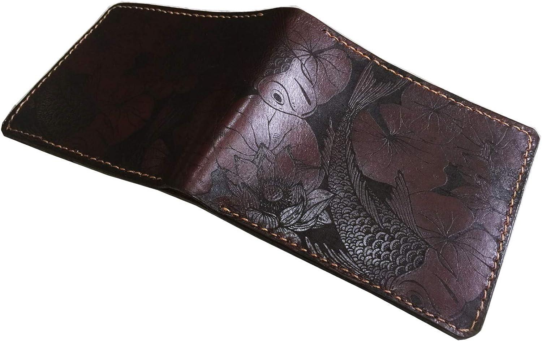 Unik4art - Koi Fish genuine leather handmade men's wallet, personalized men's gift, anniversary Japanese gift for him - 1P