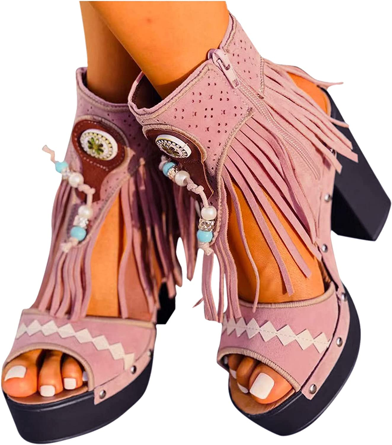 AIHOU Sandals for Women Casual Bohemian Tassels H Chunky 1 year warranty Summer Year-end annual account