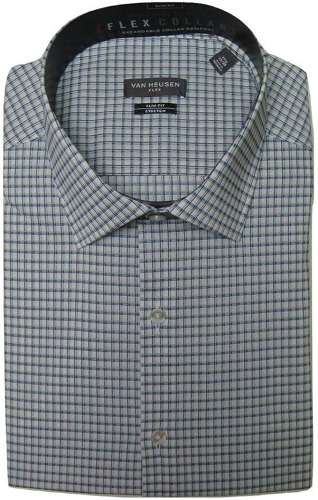 Van Heusen Men's Slim-Fit Checked Flex Collar Stretch Dress Shirt
