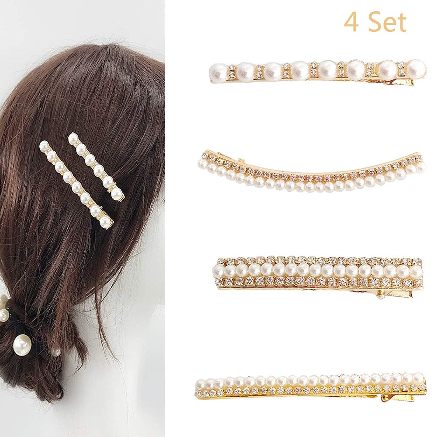 Jurxy Vintage Faux Pearl Hair Clip Metal Alloy Straight Side Hair Barrettes Club Party Hairpins for Bridal Wedding Decoration – 4PCS