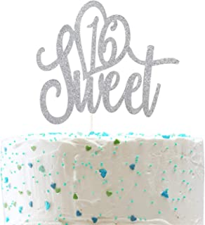 Sweet 16 Cake Topper Celebrate 16th Birthday Party Decorations Happy Sweet Sixteen Sign (Double Sided Silver Glitter)