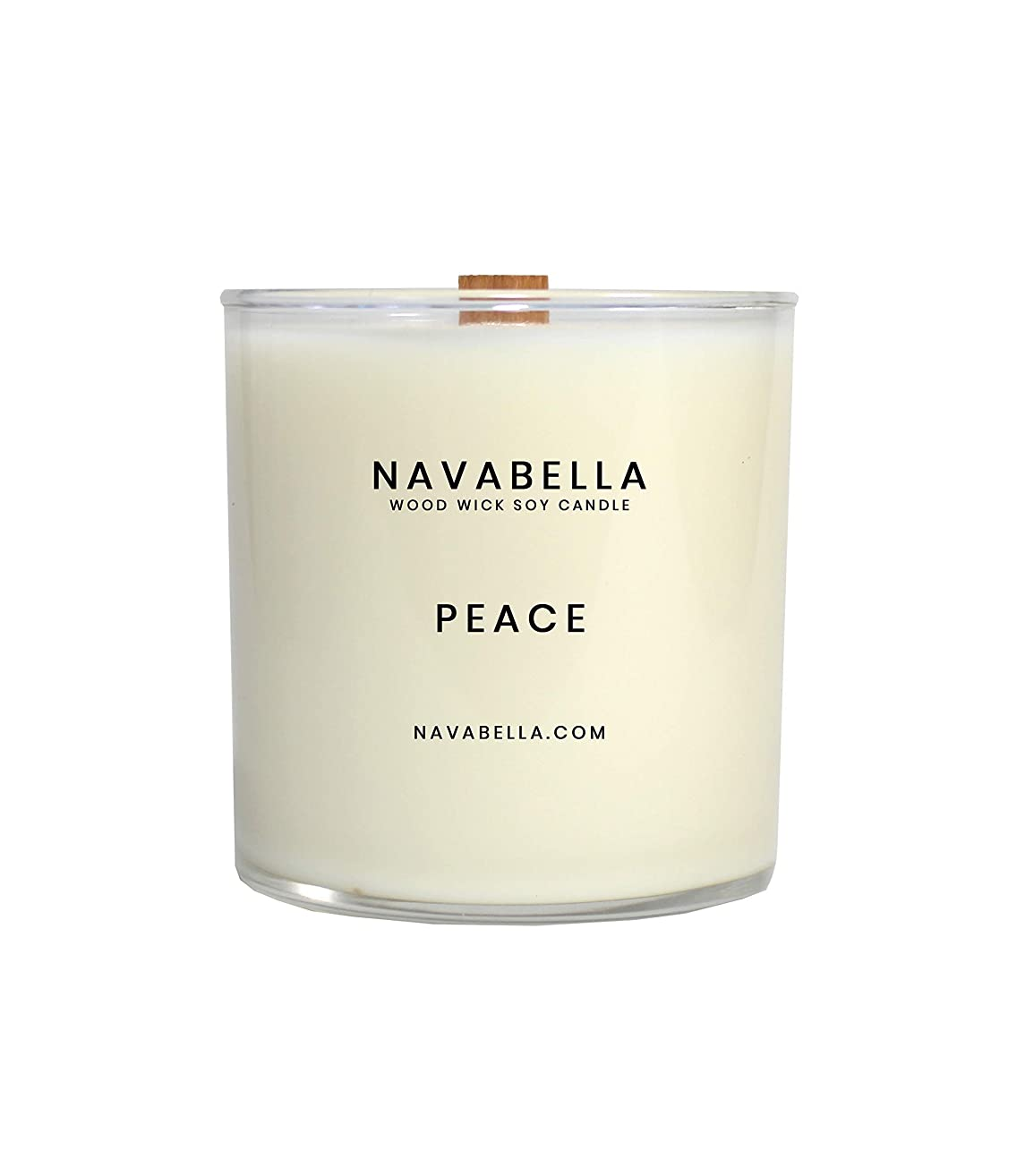 Highly Fragrant Scented Soy Candle, Strong Top to Bottom Burn, Peace Soy Candle, Handmade w/Black Tea, Vetiver + Sandalwood Oils to Balance Emotions + Calm Your Spirit - Double Wood Wicks, 50 Hr. Burn