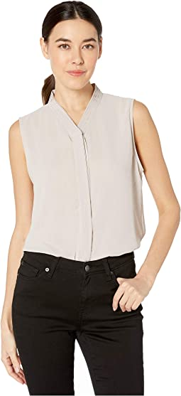 Button Front Pleated Sleeveless Woven Top