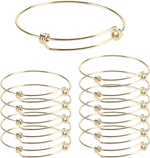 Wholesale 12 PCS Wire Blank Bangle Bracelet Adjustable Expandable Stainless Steel Bracelet Bulk for Jewelry Making