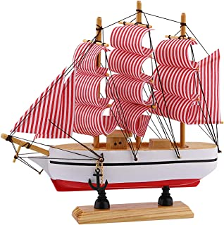 """Dedoot Wooden Sailing Ship Model, Vintage Handmade Nautical Decor Wood Sailboat Model 8""""x7"""" for Tabletop Ornament, Photo Props, Beach Ocean Theme Party and Room Decoration, Red"""