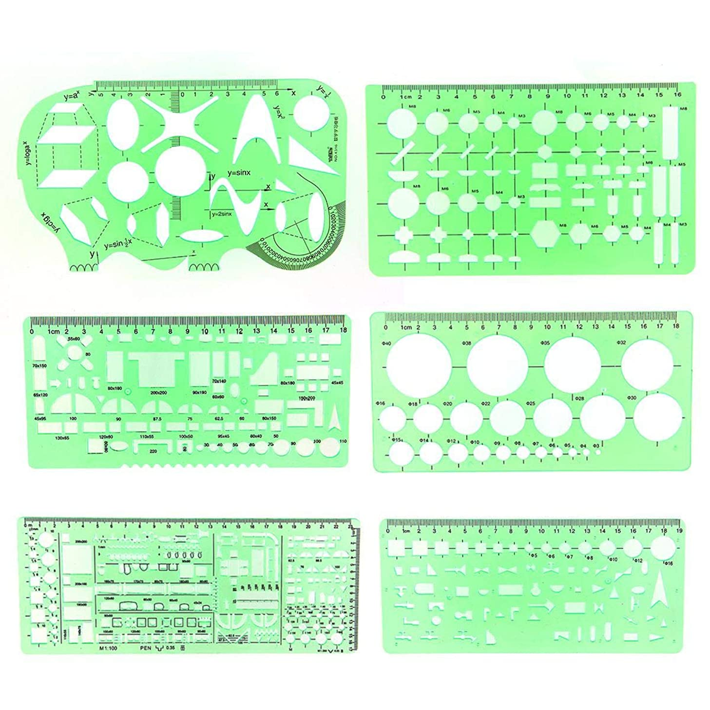 PAWACA 6PCS Plastic Clear Green Color Measuring Templates Building Formwork Stencils Drafting Tools Geometric Drawings Rulers for School Office Supplies