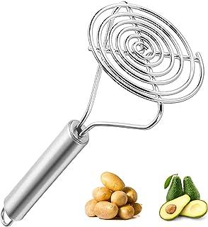 Guoofu Stainless Steel Potato Masher Heavy Duty, Round Potato Masher Hand, Good Grip Potato Smasher Food Masher Utensil fo...