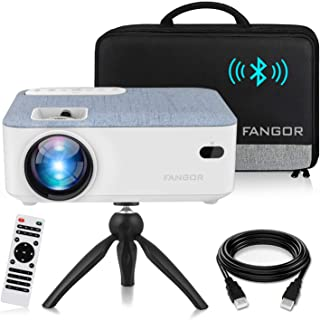 FANGOR HD Bluetooth Projector, 2021 upgraded Portable LCD Projector with Carrying Bag and Tripod, Compatible with Smartpho...