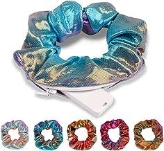 KICOSY Hair Scrunchies Dazzling Rainbow Shiny Metallic Large Hair Scrunchies with pocket Mermaid Hair Bow Elastics Ponytai...