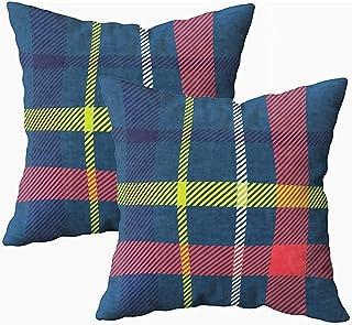 Ducan Lincoln Pillow Case 2PC 18X18,Fundas De Almohada,Fundas De Funda De Almohada Cuadrada Patrón De Tartán Tejido Tradicional Escocés Fondo Brillante Adecuado Niños