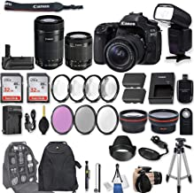 Canon EOS 80D DSLR Camera with EF-S 18-55mm f/3.5-5.6 is STM Lens + EF-S 55-250mm f/4-5.6 is STM Lens + 2Pcs 32GB Sandisk SD Memory + Universal Flash + Battery Grip + Filter & Macro Kits + More