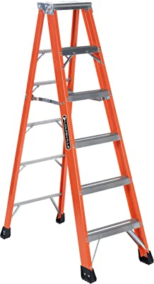 Louisville Ladder FS1306HD 375-Pound Duty Rating, Fiberglass Step Ladder, 6-Feet