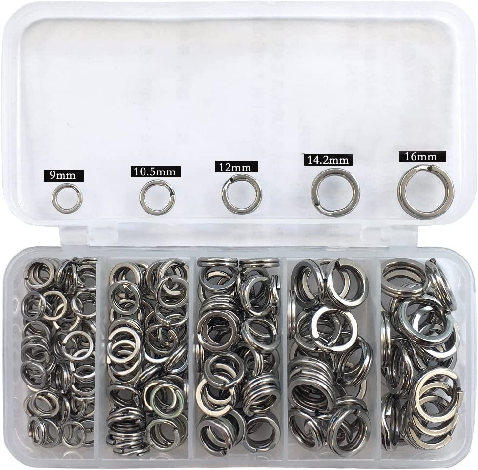 250pcs 5-Size Stainless Steel Fishing Split Rings Double Loop Connectors Tackle
