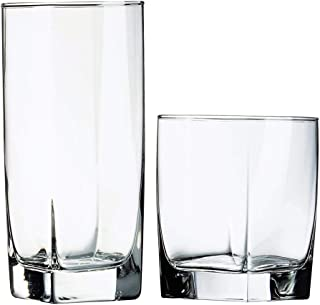 Luminarc N7336 Sterling 16 Piece Tumbler Set, 8-16 Ounce Coolers & 8-13 Ounce Double Old Fashions Glass, Clear
