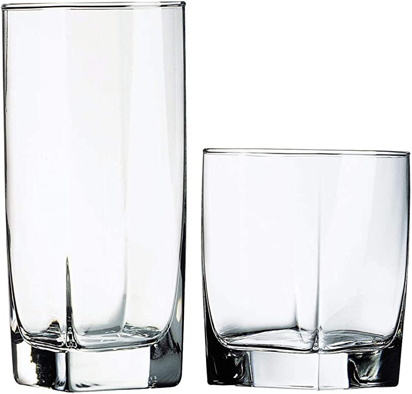 Luminarc N7336 Sterling 16 Piece Tumbler Set 8 16 Ounce Coolers 8 13 Ounce Double Old Fashions Glass Clear
