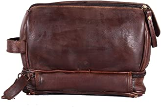 AH international Leather Zippered Black Toiletry and Dopp Shaving and Grooming Kit Bag for Men and Women
