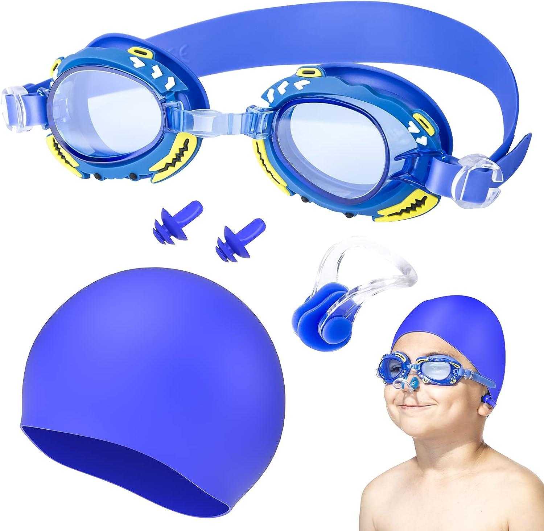 Oziral Gafas de natación para niños Profesional Vidrio de Natación Gafas de buceo con caja de almacenamiento clip nasal y tapones para los oídos Antiniebla y Protección UV
