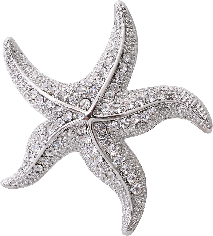 OBONNIE Women's Austrian Crystal Starfish Pearl Brooch Pin Breastpin Pendant