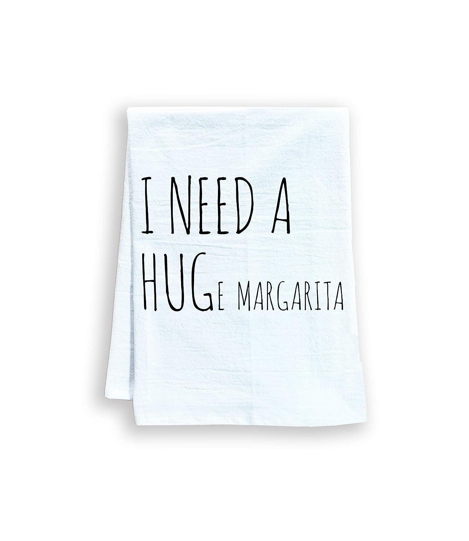 Funny Kitchen Towel, I Need A HUGe Margarita, Flour Sack Dish Towel, Sweet Housewarming Gift, White