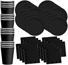 Solid Black Birthday Party Supplies Set Plates Napkins Cups Tableware Kit for 16
