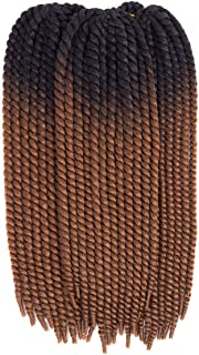 Havana Mambo Twist Crochet Braids Hair Styles (6 Packs,22 inches) Jumbo Senegalese Twist Synthetic Braiding Hair Extensions (Black-Brown)