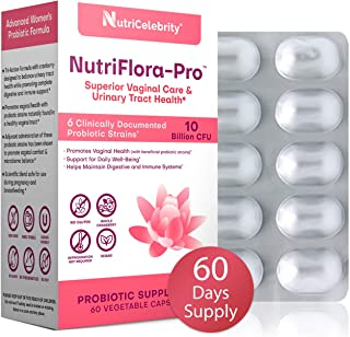 NutriFlora-Pro Probiotics for Women - 60 Day Supply Cranberry Supplement, Supports Vaginal & Urinary Health, 10 Billion CFU Guaranteed, 6 Strains, Digestive & Immune System Support
