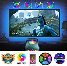 TV Backlights with App Control, AILBTON LED TV Backlight Behind 32 40-Inch 42-Inch 43-Inch HDTV Color Changing LED Strip Lights with Bluetooth Controller Sync to Music for TV Bedroom Wine Bar Party