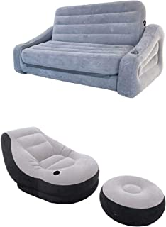 Intex Queen Inflatable Pull-Out Sofa Airbed & Ultra Lounge Chair with Ottoman