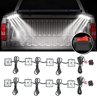 Audew Truck Bed Light Strips 2Pcs 4 Pods 2400 Lumens Total Unloading Cargo Light with On/Off Switch IP67 Waterproof for Pickup Truck, RV, SUV, Boats, Ice House (White)