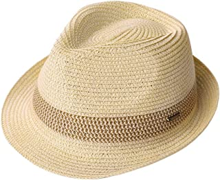 Fancet Packable Straw Fedora Panama Sun Summer Beach Hat Cuban Trilby Men Women 55-61cm