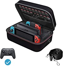 iVoler Funda para Nintendo Switch, Estuche Dura de Transporte de Lujo, Carcasa Rígida de Viaje para Consola, Adaptador AC, Joy-con Grip, Strap Joy-con, 18 Cartuchos de Juegos y Otros Accesorios