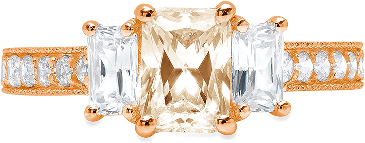 1.87 ct Emerald Round Cut Solitaire 3 stone With Accent Stunning Genuine VVS1 Simulated Yellow Moissanite Modern Promise Statement Designer Ring 18K Rose Gold