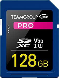 TEAMGROUP PRO 128GB UHS-I/U3 SDXC Memory Card U3 V30 4K UHD Read Speed up to 100MB/s for Professional Vloggers, Filmmaker...