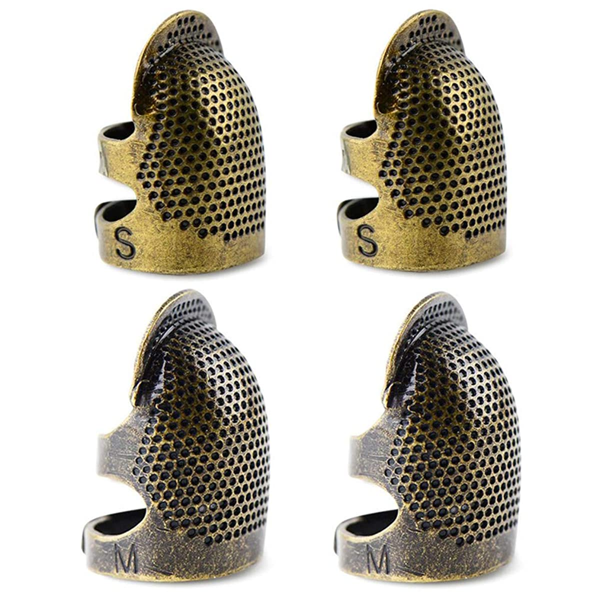 4pcs Sewing Thimble Finger Protector, Adjustable Finger Metal Copper Shield Protector Pin Needles Sewing Quilting Craft Accessories DIY Sewing Tools