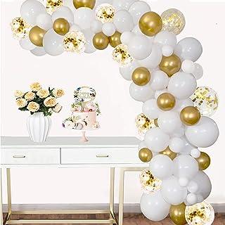 100pcs Balloon Garland Kit White-Gold - DIY Confetti Balloons for Birthday Party Graduation Baptism Wedding Anniversary (W...