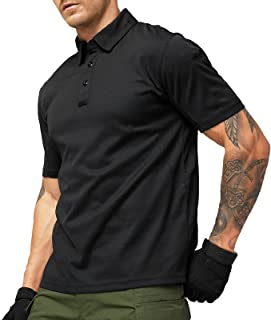 MIER Men's Outdoor Performance Tactical Polo Shirts Long and Short Sleeve, Moisture-Wicking