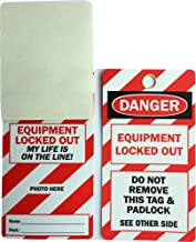 LEM Products, Inc, OSHA Style Lockout Tag, Loto Series, Legend: Danger - Equipment Locked Out - My Life is on The Line, 25 Lock Out Tags and 25 Nylon Ties per Package
