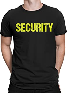 NYC FACTORY Security T-Shirt Black Mens Neon Tee Staff Event Front & Back Print