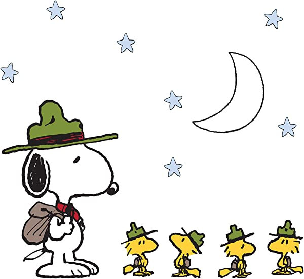 Peanuts Snoopy S Campout Stars Wall Appliques Blue White