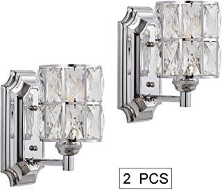 Doraimi 1 Light Prism Crystal Wall Sconce Lighting with Chrome Finish(Set of 2), Modern Wall Light Fixture with Crystal Plate Shade for Bath Room, Bed Room. LED Bulb(not Include)