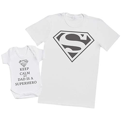 85f55ae2 Keep Calm Dad is A Super Hero - Matching Father Baby Gift Set - Mens T