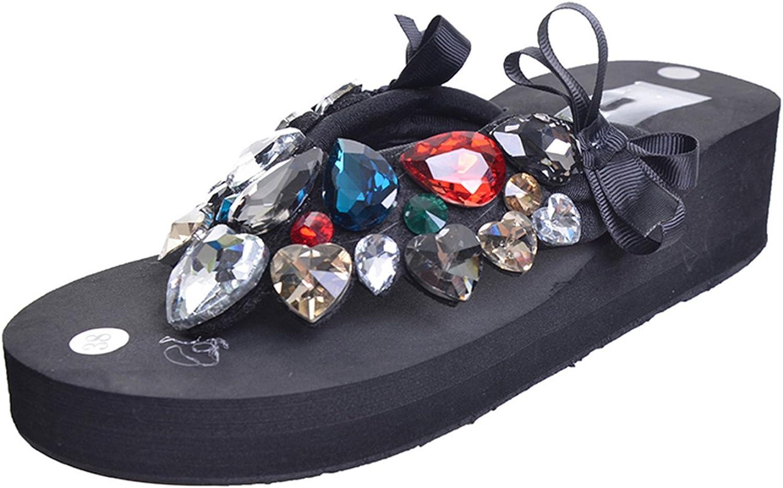 Willie Marlow Women Crystal Flip Flops Beach Wedges Slippers Platform shoes Slip On