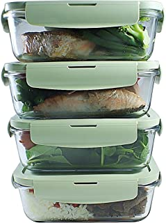 Glass Meal Prep Containers (4-Pack)  Airtight Glass Food Storage Containers with Extra Air Vent Lid   Portion Control Leakproof Glass Lunch Container   BPA-FREE, Freezer, Oven, Microwave Safe, 28 oz