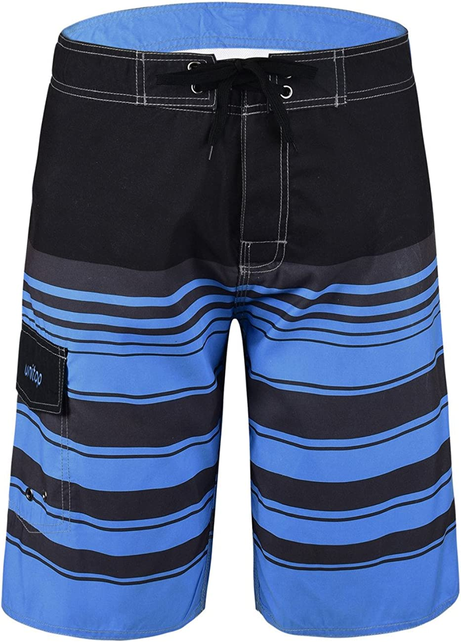 Unitop Men's Swim Trunks Solid Board Shorts with Lining