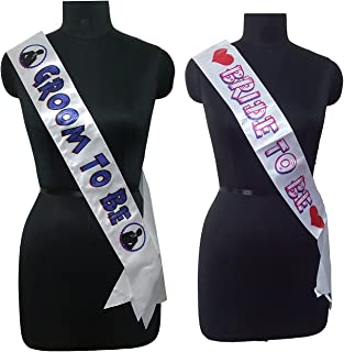 Party Propz Party Propz Bride to Be and Groom to Be Sash Bachelorette Party Supplies,Purple